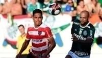Felipe Melo durante jogo do Palmeiras com o Linense, em Araraquara