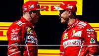 Kimi Raikkonen e Sebastian Vettel no pódio do GP da Hungria de F-1 em 2017