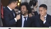 Cristiano Ronaldo e Marcelo durante celebração do título espanhol do Real Madrid