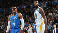 Russell Westbrook e Kevin Durant, em Oklahoma City Thunder x Golden State Warriors na NBA