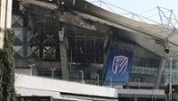 Estádio Hongkou, em Xangai, ficou com a estrutura danificada após incêndio
