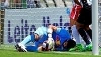 Saulo durante lance que definiu o jogo entre Santos e Red Bull