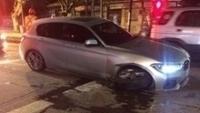 Carro de Esteban Pabez após fugir da polícia pelas ruas de Santiago