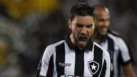 Pimpão comemora gol contra o Atlético Nacional, pela Libertadores