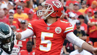 Cairo Santos durante jogo do Kansas City Chiefs contra o Philadelphia Eagles