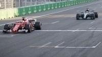 Sebastian Vettel chega à frente de Lewis Hamilton no GP do Azerbaijão