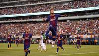 Neymar comemora gol contra a Juventus, nos EUA