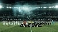 Torcida do Botafogo preparou belo mosaico antes do jogo de ida contra o Olímpia.