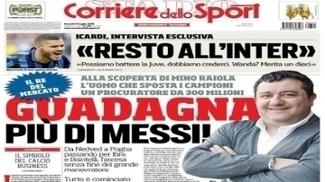 Mino Raiola na capa do Corriere dello Sport (julho 2016)