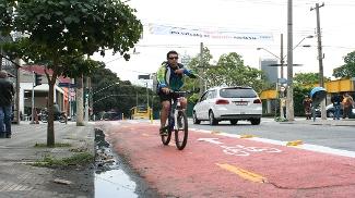 Ciclovia no centro de São Paulo
