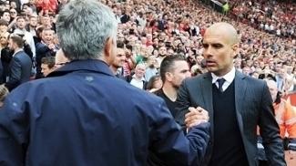 Jose Mourinho Manchester United Josep Guardiola Manchester City Cumprimentam Campeonato Ingles 10/09/2016