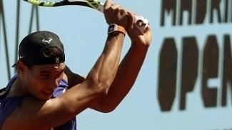Rafael Nadal treinando para o Masters 1000 de Madri, na Espanha