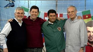 Edgardo Martólio, Celso Unzelte, Marcelo Duarte e Gerd Wenzel no Loucos por Futebol
