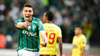 Moisés comemora o gol do Palmeiras contra o Barcelona-EQU