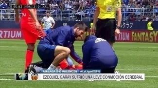 Garay sofre concussão e Valencia perde de 2 a 0 para Málaga
