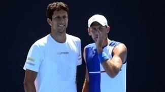 Marcelo Melo durante jogo com Lukasz Kubot em jogo no circuito da ATP