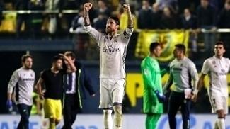 O zagueiro Sérgio Ramos comemora vitória contra o Villarreal