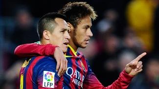 Neymar deu passe para o gol de Alexis, o terceiro do Barça