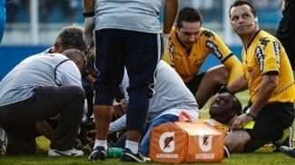 Luiz Flávio de Oliveira deixou o campo e cogitam uma fratura