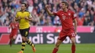 Müller marcou duas vezes diante do Dortmund