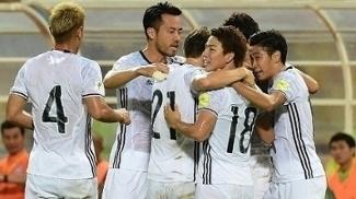 Japão comemora um dos gols na vitória por 2 a 0 sobre a Tailândia