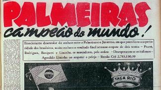 A Gazeta Esportiva noticiou o Palmeiras como campeão do mundo
