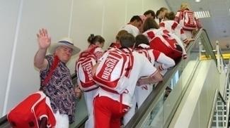 Atletas da Rússia em viagem para os Jogos Olímpicos de Londres em 2012