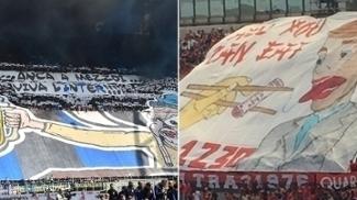 Faixas de Internazionale e Milan protestaram contra o horário do clássico