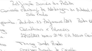 À mão, Thiago Duarte Peixoto corrigiu súmula de Corinthians x Palmeiras