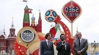 Pelé foi o responsável por iniciar a contagem regressiva para a Copa do Mundo da Rússia