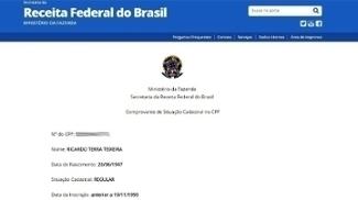 Consulta à situação de Ricardo Teixeira no site da Receita Federal do Brasil
