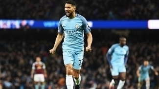 Clichy Comemora Gol Manchester City Burnley Premier League 02/01/2017