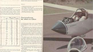 Artigo em revista alemã e Galvão com um planador