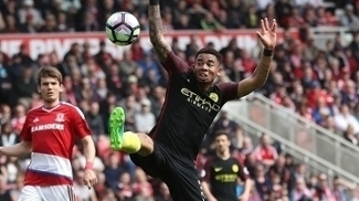 Gabriel Jesus durante a partida do Manchester City contra o Middlesbrough