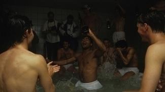 Romário comemorando vitória pelo PSV no vestiário