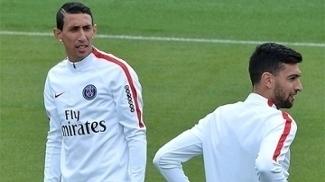 Angel Di María e Javier Pastore, em treino do PSG