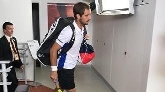 Richard Gasquet a caminho de seu jogo contra Gael Monfils em Rolland Garros