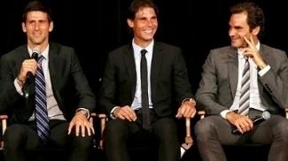 Djokovic, Nadal e Federer durante evento em Nova Iorque em 2013