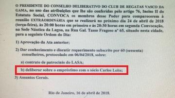 CBF pede explicações ao Vasco sobre empréstimo de empresário com 'fatiamento' de Paulinho