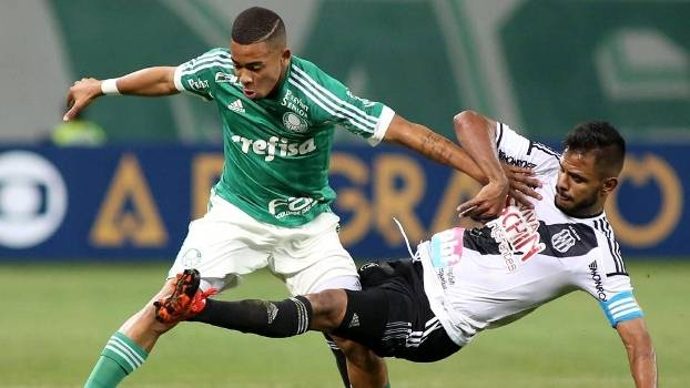 Gabriel Jesus durante jogo contra a Ponte Preta