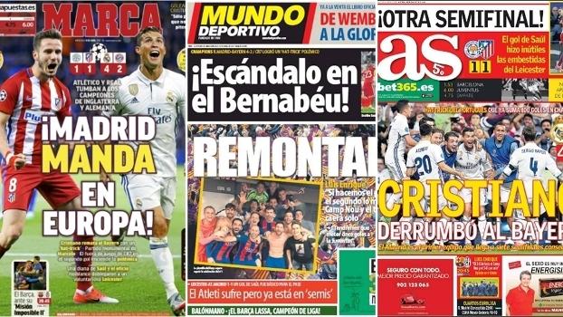 Classificação do Real Madrid sobre o Bayern de Munique é destaque em jornais