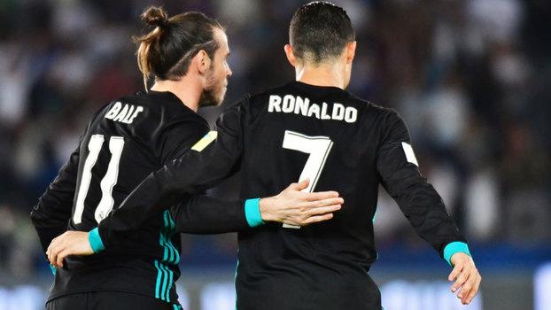 Cristiano Ronaldo e Gareth Bale comemoram o gol da vitória do Real Madrid