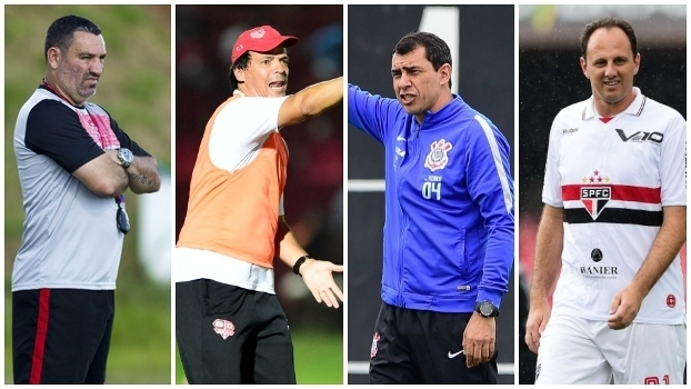 Os técnicos Guilherme, Fernando Diniz, Fábio Carille e Rogério Ceni