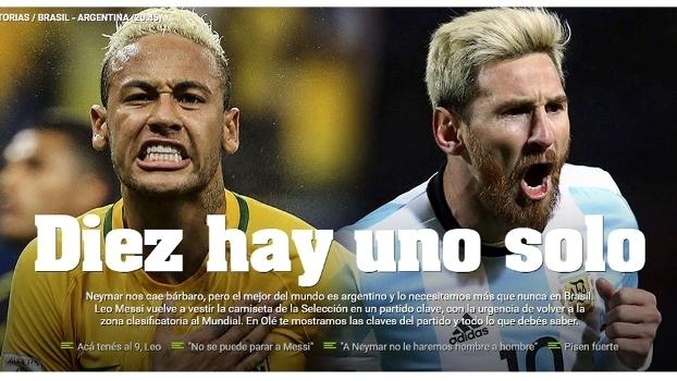 Jornal argentino provoca antes de Neymar x Messi   Só existe um 10 ... 32acf887a74ef