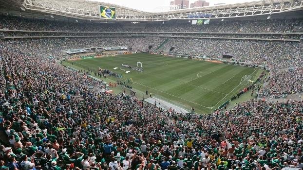 Torcedores do Palmeiras no Allianz Parque durante a partida contra a Chapecoense