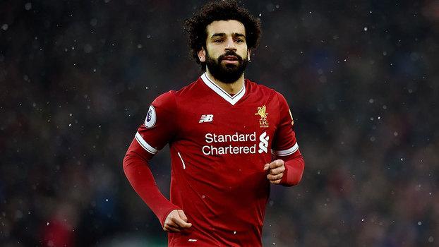 Mohamed Salah em ação pelo Liverpool no dérbi contra o Everton