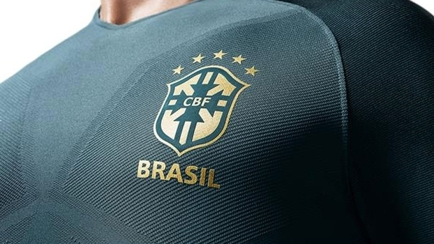 2c36a66de3507 Detalhe da camiseta do terceiro uniforme da seleção brasileira