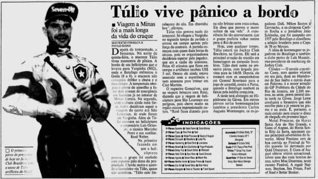 Reprodução do 'Jornal do Brasil' com notícia do susto de Túlio no helicóptero