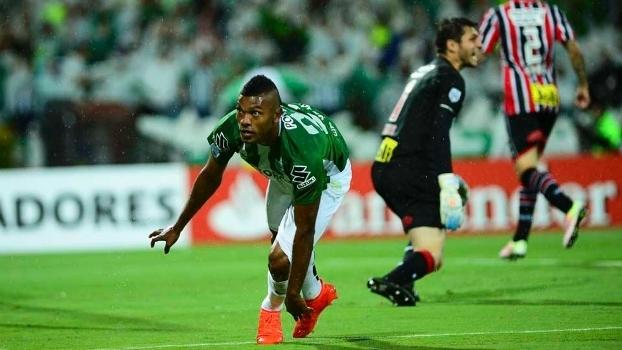Borja comemora gol do Atlético Nacional-COL sobre o São Paulo pela Libertadores