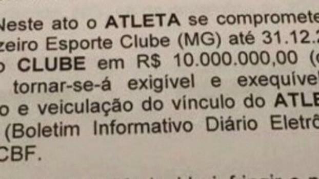 Trecho do contrato de Fred com o Atlético-MG prevendo a idenização de R  0ec3f70d9ebc9